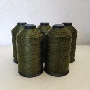 5 Lg Spools Olive Drab Soft Nylon Thread 900 Yards